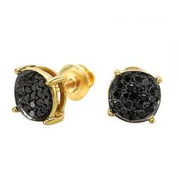 0.25 CT 18K Gold Plated Sterling Silver Round Black Diamond