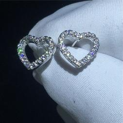 0.75Ct Round Cut VVS1/D Diamond Heart Stud Earrings Solid 14