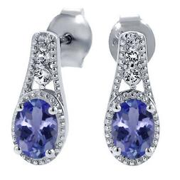1.00 Ct 6X4MM Oval Tanzanite & White Topaz 925 Sterling Silv