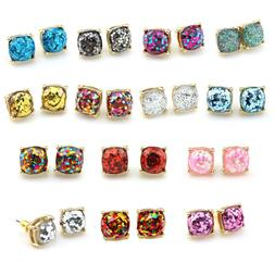 1 *1cm Women Fashion Boxed Studs Gold Plated Glitter Small S