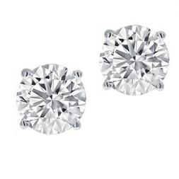 1/2ct Real  Round Diamond Solitaire Stud Earring set in 14K