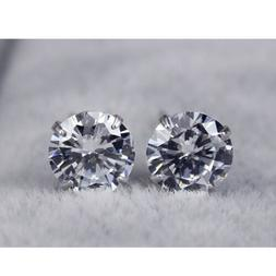 1 Pair 925 Sterling Silver,Stud Earrings With Man Made Diamo