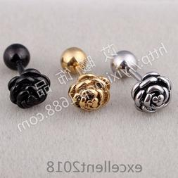 1 Pair Women Stainless Steel Rose Flower Allergy Free Screw
