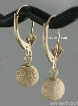 "1"" Solid 14K Yellow Gold Leverback 7mm Ball Earrings SPARKLI"