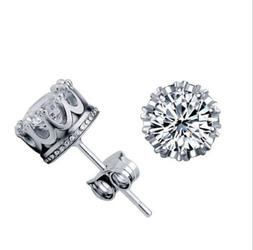 10mm Men Women Sterling Silver Post Stud Crown Cubic Zirconi