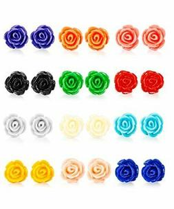 LOYALLOOK 12 Pairs Assorted Colors Resin Rose Flower Earring