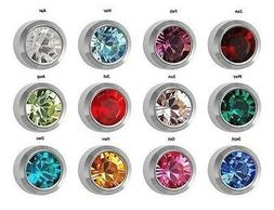 12 Pairs of Birthstone Surgical Stainless Steel RD3.0mm Pier
