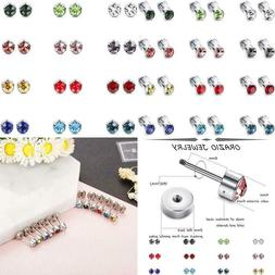 Orazio 12 Pairs Stainless Steel Cz Stud Earrings For Women G