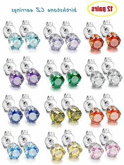 Salome 12 Pairs Stainless Steel Round Cubic Zirconia Birthst
