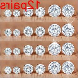 12Pairs/Set Crystal Zircon Stainless Steel Earrings Sets Wom