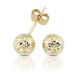 14K Gold Hammered Finish Ball Stud Earrings for Women and Gi
