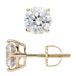14K Solid Yellow Gold Stud Earrings | Round Cut Cubic Zircon