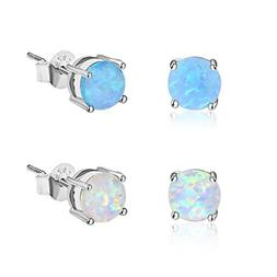 Zealmer 14K White Gold Filled 6mm Round White Blue Opal Stud