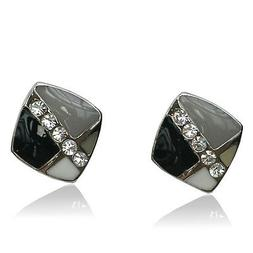14k white Gold plated with Swarovski crystals black stud men