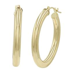 14K Yellow Gold 1 inch 3mm Hoop Earrings