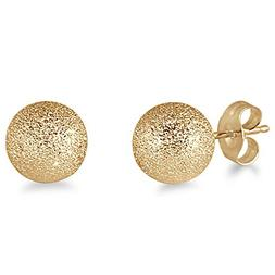 14K Yellow Gold 7mm Laser Cut Ball Stud Earrings