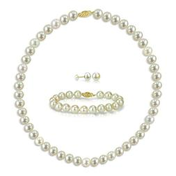 14k Yellow Gold 8-8.5mm White Freshwater Cultured Pearl Neck