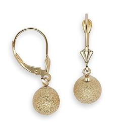 14k Yellow Gold Laser-cut Sparkly Dangling Ball Leverback Ea
