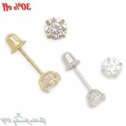 14K Yellow / White Gold Round CZ Stud Basket Earrings Screw