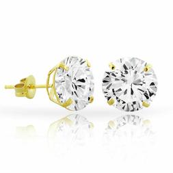 14kt Solid Yellow Gold Super Bright Clear CZ Studs Earrings
