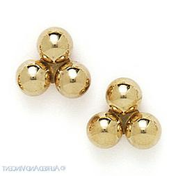 14kt Solid Yellow White Gold Stud Earrings Polished 14k 14 k