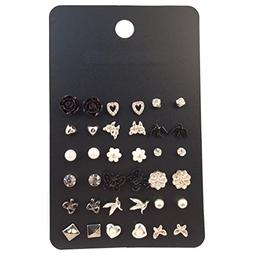 18 Pairs Multiple White Black Earring Set for Women Heart/Fl