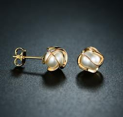 Sevil 18K Gold Plated Created Pearl Cage Stud Earrings