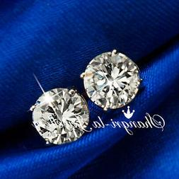 18K WHITE GOLD GF SILVER ROUND STUD EARRINGS MENS WOMENS SWA