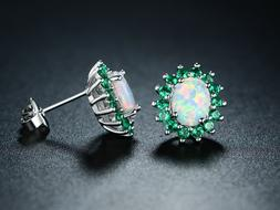 Sevil 18K White Gold Plated Created Opal & Created Emerald S