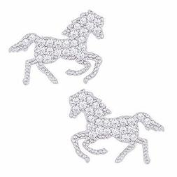 18k White Gold Plated Cubic Zirconia Horse Stud Earrings by