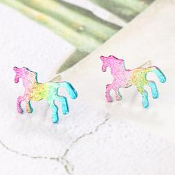 1Pair Cute Metal Unicorn Stud Earrings Glitter Rainbow Colou