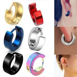 1Pair Punk Mens Women Stainless Steel Hoop Huggies Ear Stud