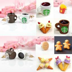 1Pair Women Girls Creative Cute Food Fruit Resin Ear Stud Ea