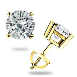 2.00CT ROUND CUT CREATED DIAMOND EARRINGS 14K SOLID YELLOW G