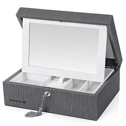 SONGMICS 2-Layer Jewelry Box, Lockable Jewelry Organizer, wi