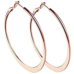 "2"" Loop Earrings, 18k Rose Gold Plated Hoop For Womens Sensi"