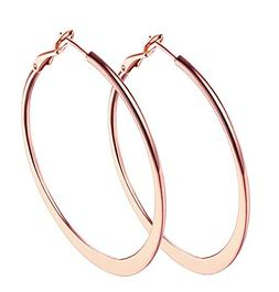 "2"" Loop Earrings, 18k Rose Gold Plated Hoop Earrings for Wom"