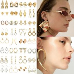 Fashion Large Circle Geometry Metal Ear Stud Earrings Women