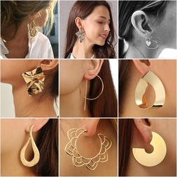 2018 Fashion Large Circle Geometry Metal Earring Ear Stud Ea