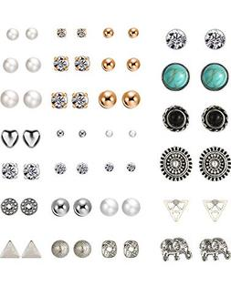 TOODOO 27 Pairs Multiple Stud Earrings Set Cute Vintage Earr