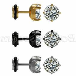 2pcs Men's Women's Stainless Steel Charm Round Cubic Zirconi