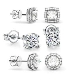 3 Pack Stud Earrings Made with Swarovski Crystal - 18K White