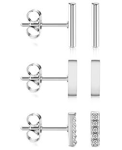ORAZIO 3 Pairs 20G Stainless Steel Mini Bar Earring Line Ear