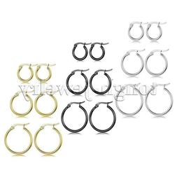 3 Pairs Stainless Steel Hoop Earrings Set Huggie Earrings fo