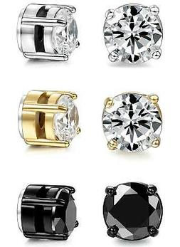 ORAZIO 3 Pairs Stainless Steel Magnetic Stud Earrings for Wo