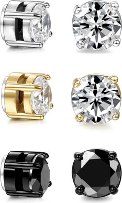 3 Pairs Stainless Steel Magnetic Stud Earrings for Womens Me
