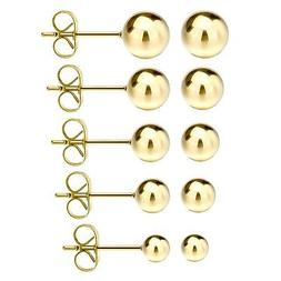 JewelrieShop 316L Surgical Stainless Steel Earrings Round Ba