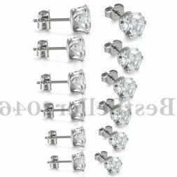 3mm-8mm Stainless Steel Round Clear Cubic Zirconia Men Women