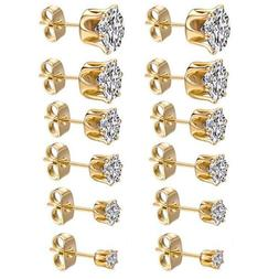 3mm-8mm Women's Stainless Steel Gold Round Clear Cubic Zirco