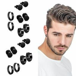 4 Pairs Black Stud Earrings For Men Women Fashion Classy Cas